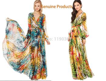 2015 новый летний женской одежды богемный шифона платье солнцезащитный крем с длинным рукавом v-образным вырезом платье мода женщин свободного покроя платья vestido
