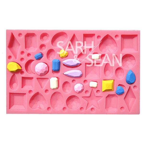M0703 mini diamonds jewel gemstone fondant cake molds soap chocolate mould kitchen baking Silicone Sugar Cake Decoration Tool(China (Mainland))