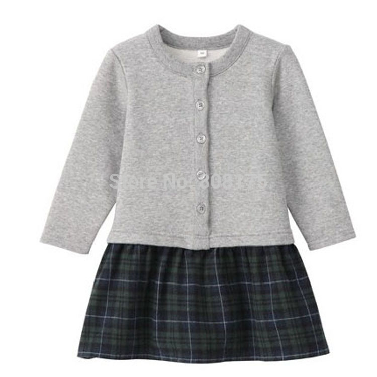 HOT ! Girls spring 2015 organic cotton terry baby baby spell color long-sleeved dress child children dress(China (Mainland))