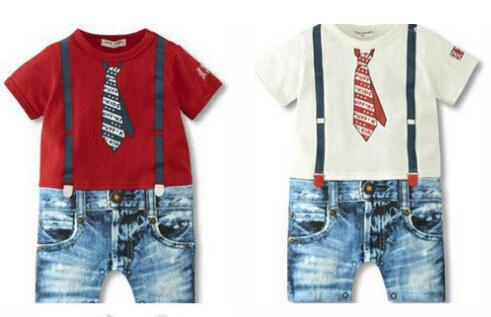 Free shipping Retail 2015 new Summer Baby Romper fake tie Gentleman One-Piece romper short sleeve newborn one-piece jumpsuit(China (Mainland))