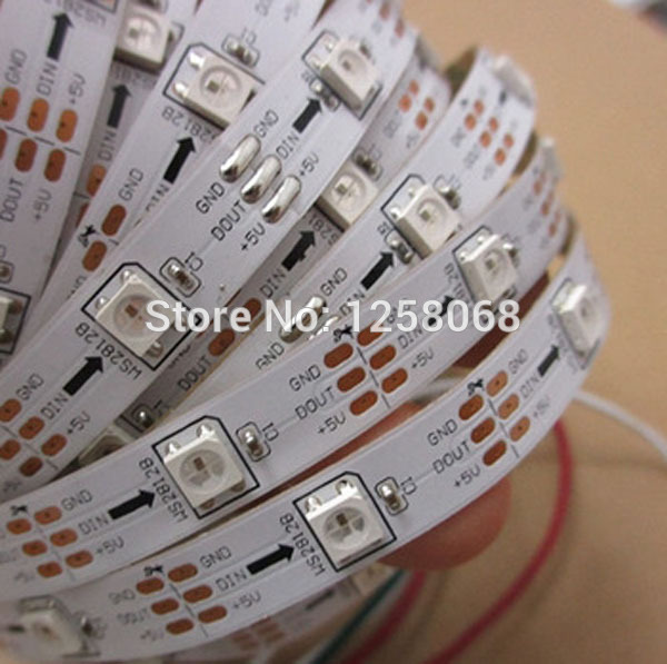 1M 30 LEDs/M WS2812B 5050 SMD RGB Digital LED Strip Light 5V White PCB 10m/lot free shipping(China (Mainland))