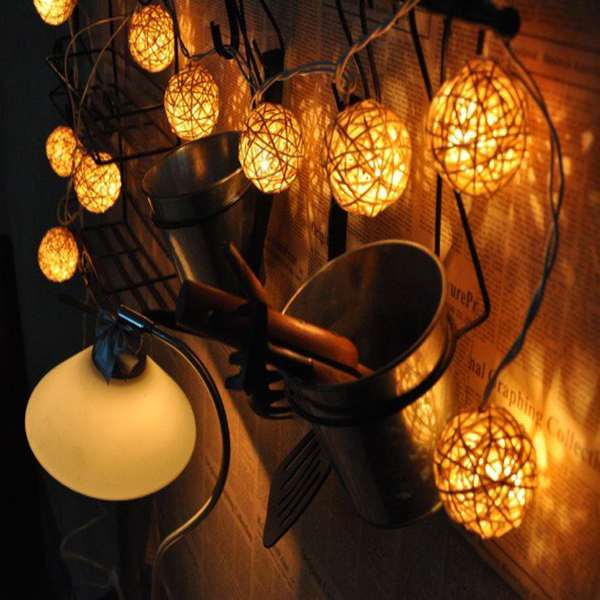 1set/20pcs New LED Decorative Wedding Party Indoor/Outdoor Rattan Ball String Lights Free Shipping(China (Mainland))
