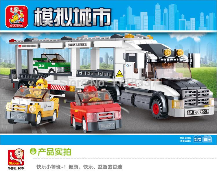 Sluban 638pcs Auto Transport Truck Building Blocks Transport aircraft vehicle Bricks Toys Gift Compatible with Lego(China (Mainland))