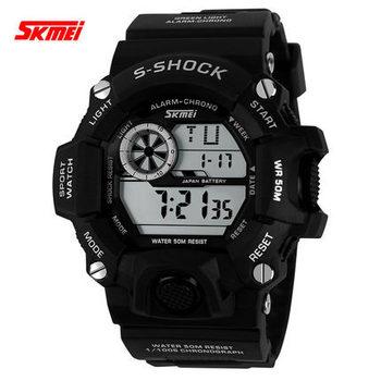 2015 новый Skmei спорт мужчины марка шок часы часы на открытом воздухе кварцевые из светодиодов цифровой свободного покроя мужской платье часы военные наручные часы