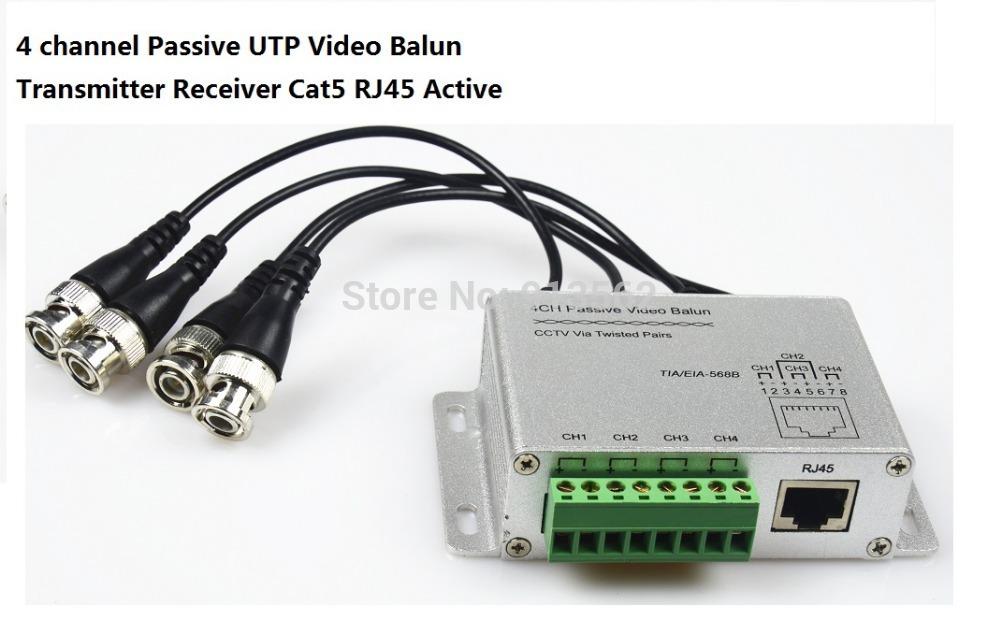 CCTV 4 Channel Passive Transmitter Video Balun BNC Female To UTP Rj45 Cat5(China (Mainland))