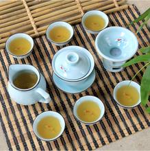 9 pcs kung fu  tea set, Longquan celadon ceramics teaset, 1 gaiwan+1 fair cup + 1 filter + 6 cups, exquisite porcelain teaset
