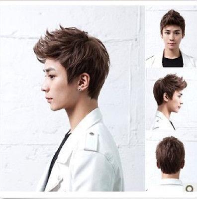 Korean men's short false hair Cosplay Party Fancy Dress wigs Natural Black WigNatural Hair Wigs Kanekalon Hair wigs(China (Mainland))