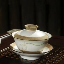 8 pcs Hand painted clay bergamot lotus Chinese traditional tea sets 1 chahai 1 gaiwan 6