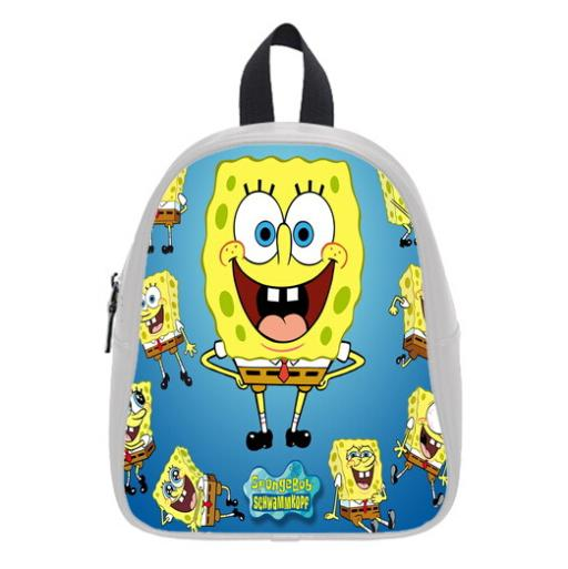 New Design Hot Sale Backpacks Custom Cartoon SpongeBob Kid's School Bag For Boys And Girls Free Shipping PC-0982(China (Mainland))