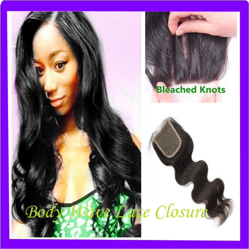 Cheap Black Color 1b 4x4 Brazilian Virgin Lace Closure Body Wave Closure Free 3 Part Middle Part Bleached Knots Ms Lula Hair(China (Mainland))