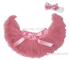Dusty Pink Soild Big Bow Nylon Chiffon Newborn Baby Girl Dance Pettiskirt Tutu With Accessoies 3-12Month MADRE0042(Hong Kong)