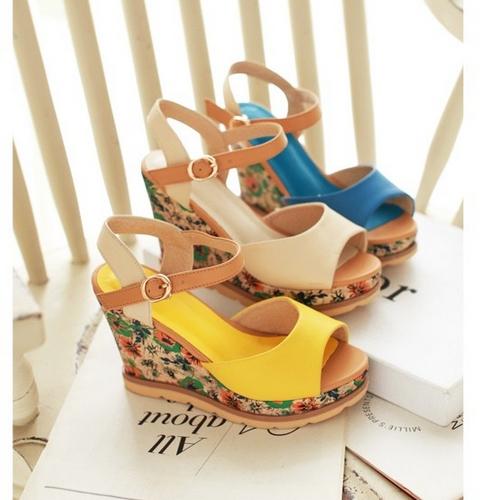 2015 New Fashion Wedges High Heels Platform Sandals Dress Shoes For Women Sexy Women's High Heels Shoes Drop Shipping(China (Mainland))