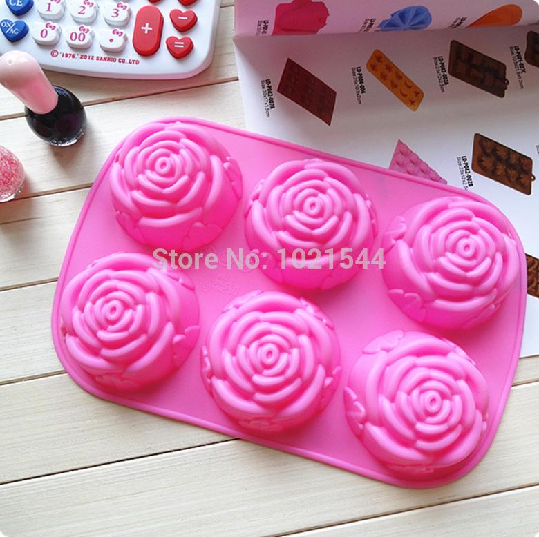 High Quality Free shipping 100PCS Flower Fondant Cake pan Candy Soap Silicone Mold Baking Pan Cake Decoration(China (Mainland))