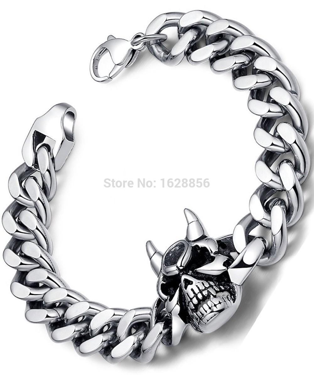 Explosion models Stainless Steel Men's Gothic Biker Devil Skull Curb Chain Link Bracelet new hip hop style design Bracelets(China (Mainland))