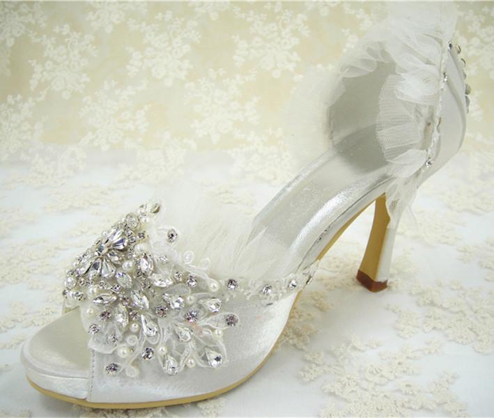 Free Shipping Women's Wedding Shoes/ Lace Rhinestones Bridal Shoes Ivory White/ 2.5 -4 inches Heel/ Size 4.5-10(China (Mainland))