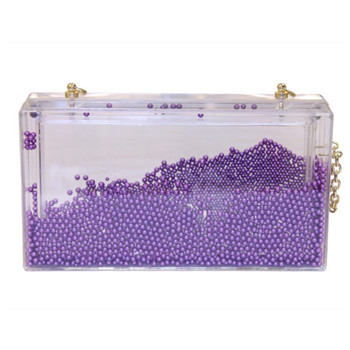 2015 Spring and Summer New Design Purple Ball Beads Transparent Acrylic Case Women Clutch Purse Prom Bag aj shanel begs bolsa(China (Mainland))