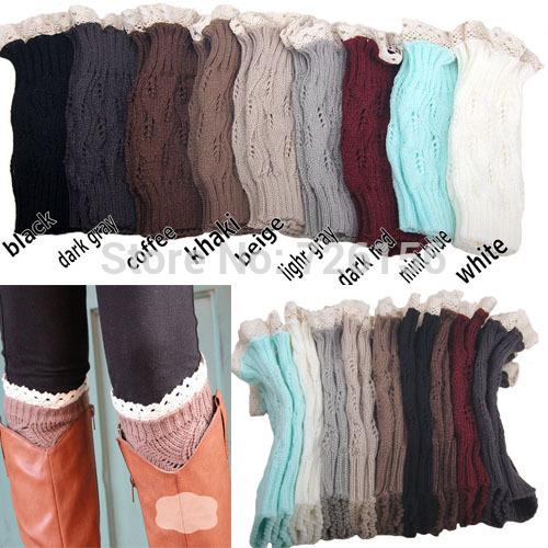 10Pair/lot 2015 New Fashion Lace Leg Warmers Yarn hollow out boots knitting short leg warmer(China (Mainland))