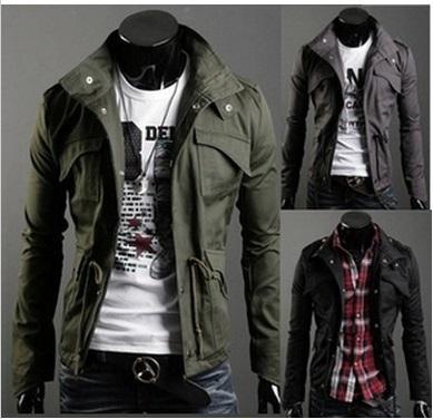 2015 winter British Style Trench Coat Men Zipper Men's Jackets Brand Outdoors Overcoat Black Mens Jacket(China (Mainland))