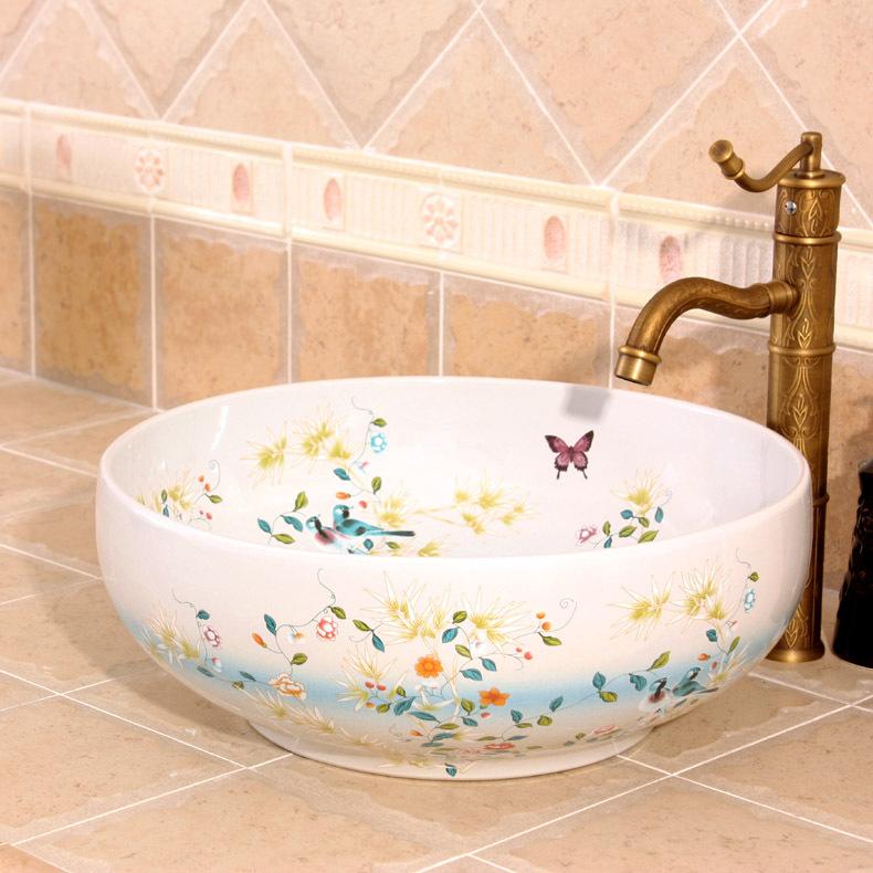 flowers and bird pattern Jingdezhen factory directly ceramic hand painted hand round art basin counter top(China (Mainland))