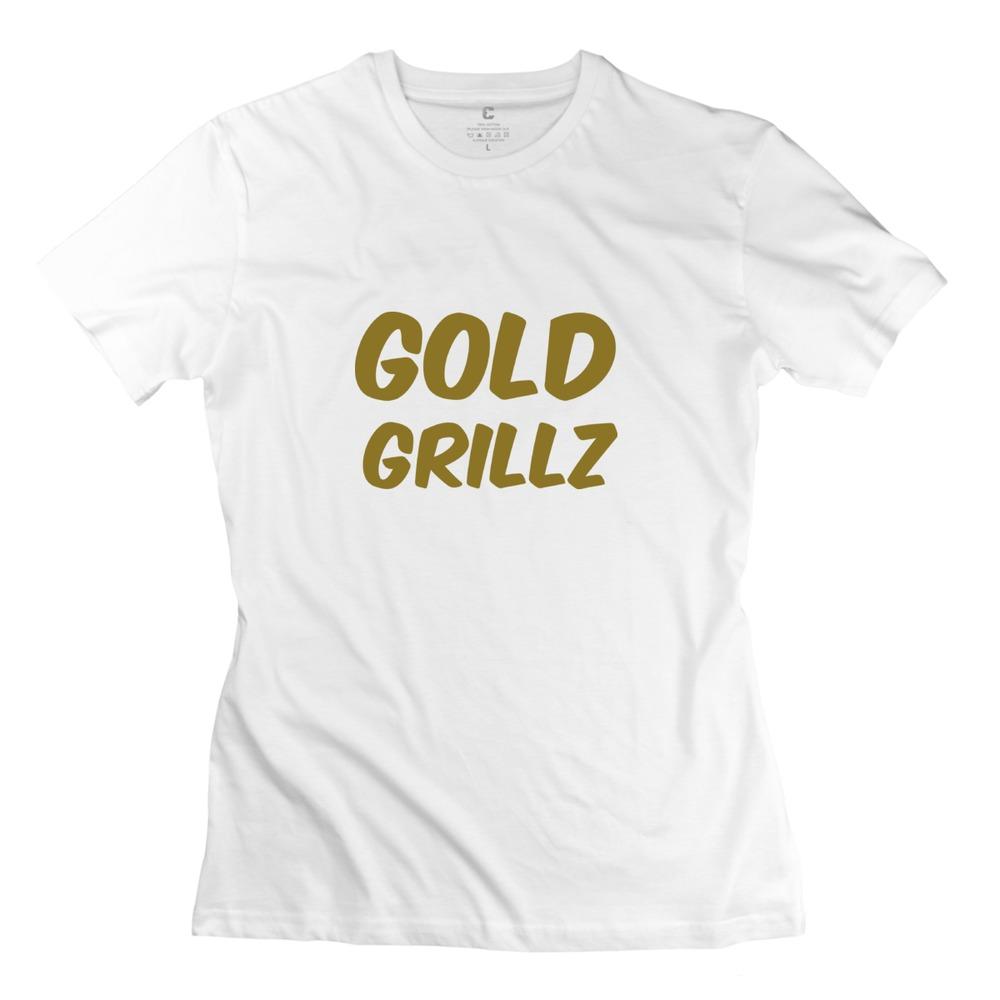 Design Girls Latest t shirt GOLD GRILLZ Customized Organic Cotton t shirt For women's(China (Mainland))