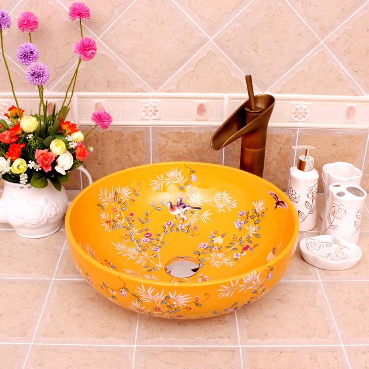 flowers and bird pattern Jingdezhen factory directly ceramic hand painted washing basin(China (Mainland))