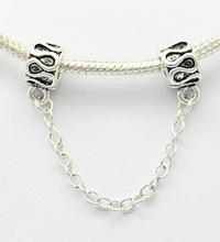 Free shipping, 925 silvery fret safety chain charm beads. Suitable for Pandora bracelet necklace
