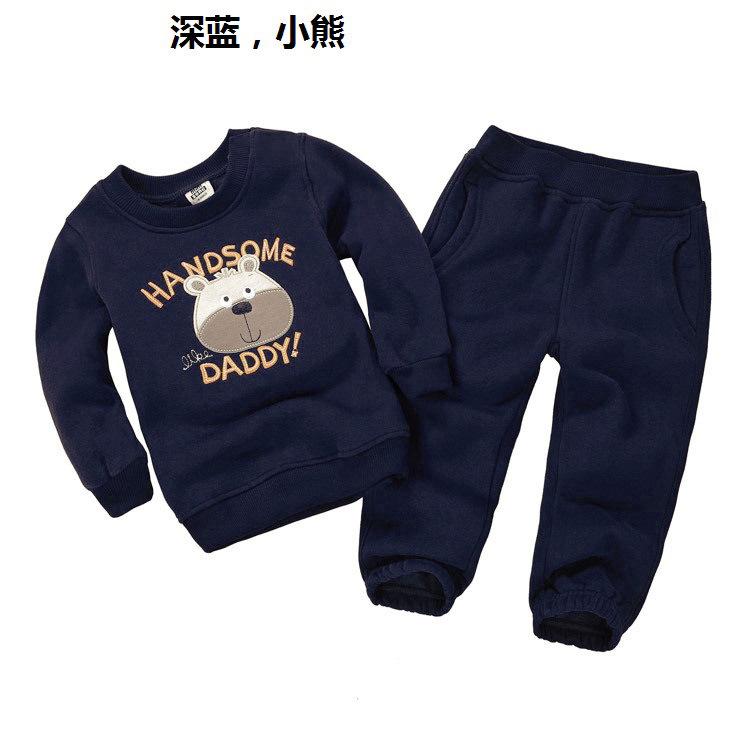 Boy's clothing sets spring Baby Sets fleece cotton boy tracksuits Kids sport suits cartoon Dino/bear coats/sweatshirts+pants(China (Mainland))