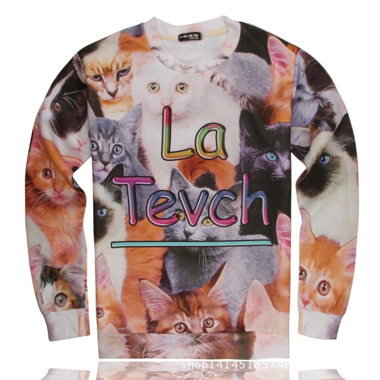 2015 Korean Style Men Hoodies Hip Hop Man Sweatshirt Funny 3D Cat Print Tracking Suits Sports Joggers Sueter Hombre CTD128(China (Mainland))