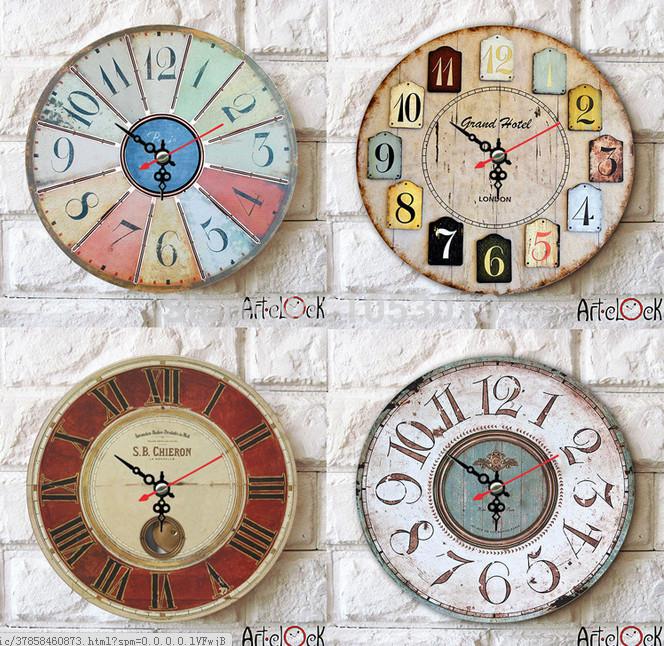 Free shipping New 2015 home decoration creative decorative clocks wall clock wooden clock free shipping(China (Mainland))
