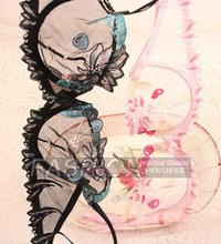 Free shipping Ultrathin embroidery lace bra sexy underwear bra set Cherry delicate embroidery bra women thin