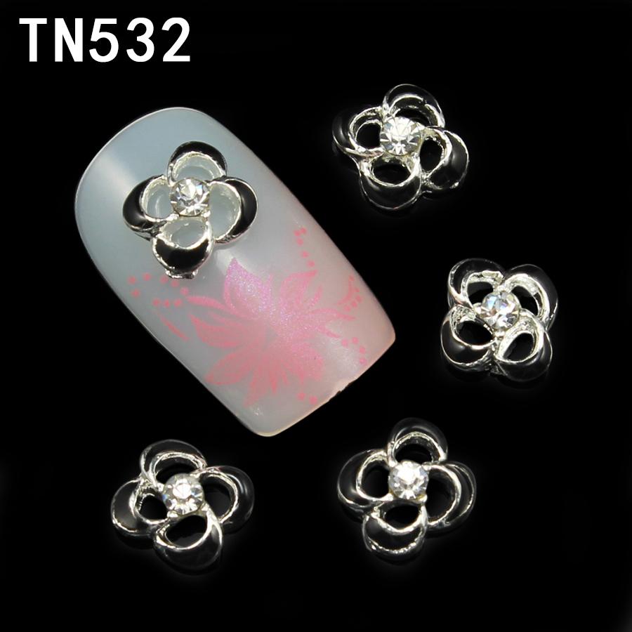 60pcs/lot Black Garland Rhinestones 3D Nail Art Decorations New 2015 Women DIY Glitter Silver Alloy Nail Tools TN532(China (Mainland))