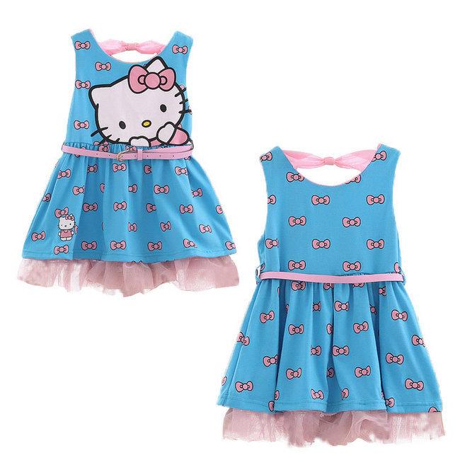 2015 New Summer Princess dresses Girls Hello Kitty dress Baby KT Cats dress Children Printed TUTU Dresses Kids leisure Clothing(China (Mainland))