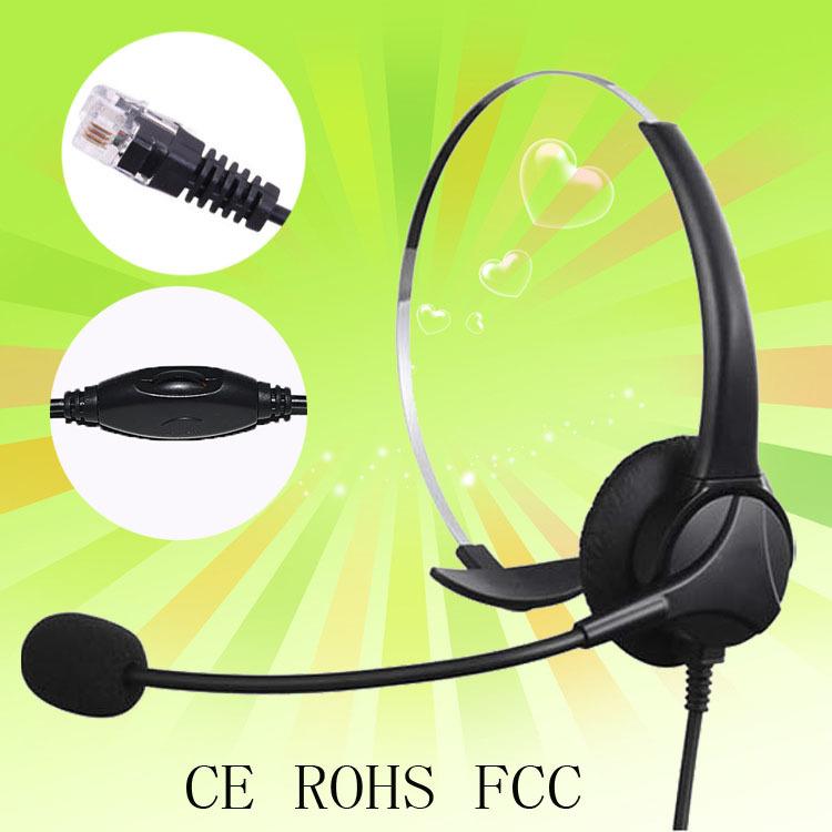 Free shipping Black headphones Call Center telefone mono headset phone com plug RJ9 / RJ11 Professional telephone headset(China (Mainland))