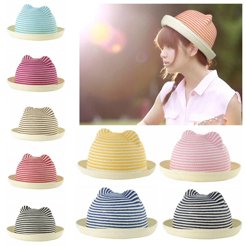 Cute Women Girls Straw Hat Stripes Cat Ears Straw Fedora Rolled Brim Domed Cap Sun Hats for Summer Headwear Chapeu de Praia(China (Mainland))