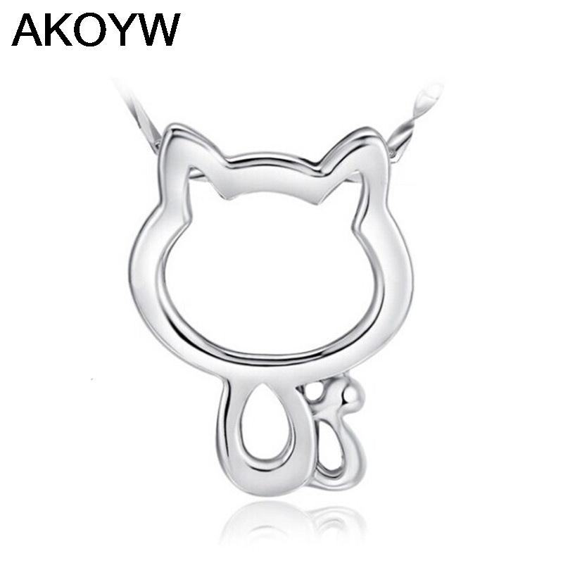 S925 silver hollow kitty cat pendant necklace pendant Korean version of the retro jewelry wholesale(China (Mainland))
