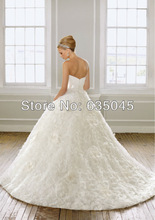 Vestido De Noiva 2015 New Custom Made Romantic Organza Flower Pleat Sash Princess Wedding Dress Robe