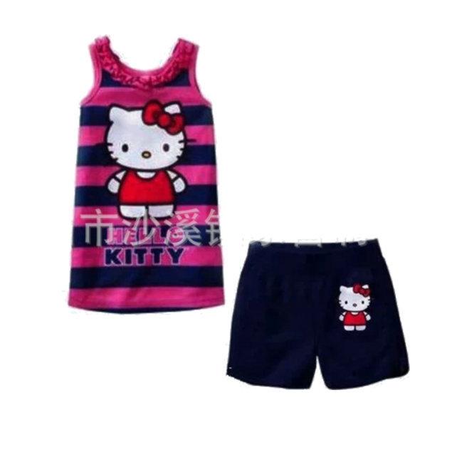 2015 New Summer KT Cats Suits Girls Hello Kitty Pajamas Baby Printed Pijamas sets Children Cartoon Clothing set Kids Sleepwears(China (Mainland))