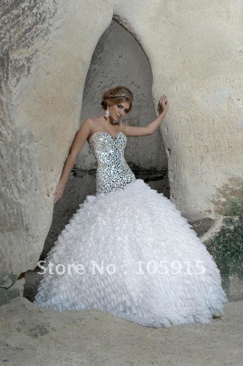 (MF-179)Fashionable Sweetheart Full Crystal Beaded Bling Bling Bridal Ball Gown(China (Mainland))