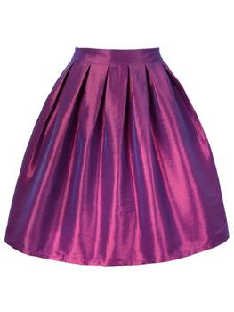 Высокая талия складки мини линия конькобежец свободного покроя юбка 7 цвета один ...