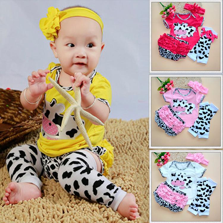 Retail 2015 baby clothing sets 4pcs/set baby girls clothes infant costumes t-shirt+PP pants+socks+band free shipping(China (Mainland))