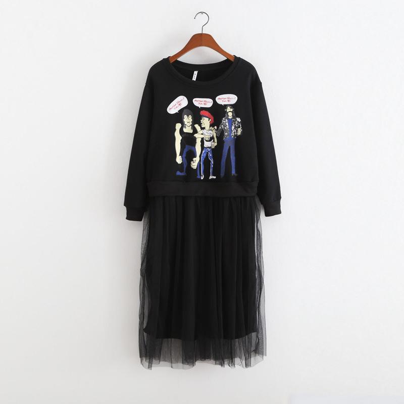teens clothes dress for teen teenage dress patterns kids fashion 2015 girls girl black dress street wear cotton long sleeve(China (Mainland))