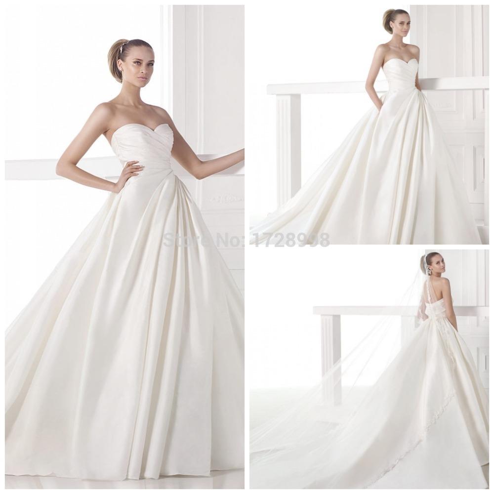 Vintage Wedding Dress Simple Design High Quality Pleat Satin Sweetheart Off the Shoulder Vestidos De Noiva 2015 Luxury Train(China (Mainland))