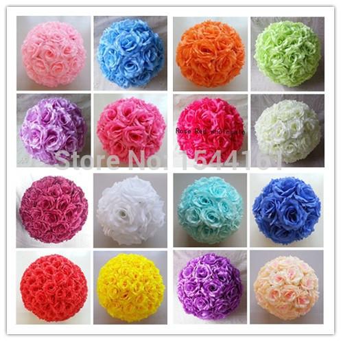 30cm Party Wedding Roses Kissing Balls Rose Pomander Flowers Balls Home Decoration 16 Colors(China (Mainland))