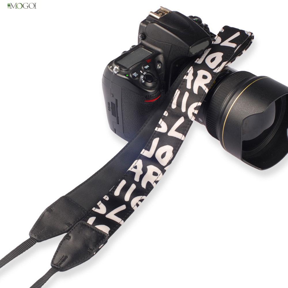 Mogoi Letter Pattern Digital Single Lens Reflex Camera Shoulder Strap, Black(China (Mainland))