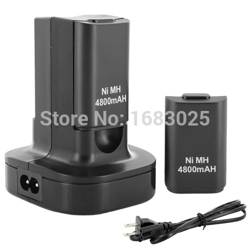 Ship From US!Brand New Dual Charger Dock + 2 Rechargeable Battery 4800mAh for Xbox 360 Controller(China (Mainland))
