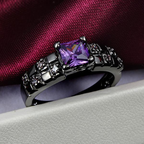 18K Black Gold New Fashion Purple Zircon Crystal Finger Rings Wedding Party Birthday Women Elegant Gift Size 6,7,8(China (Mainland))
