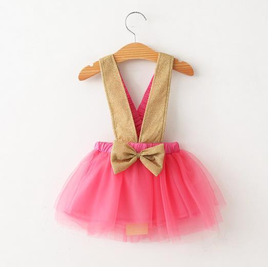 New arrival 2015 summer dress gold strap bow girl dress mesh tutu vestidos infantis ball gown kids clothes lolita girls clothes(China (Mainland))