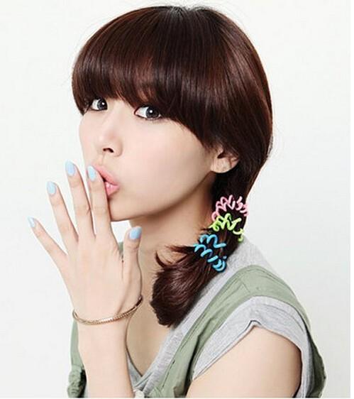 10pcs Hot Selling Plastic Hair Bands Head Colorful Rope Spiral Shape Hair Ties(China (Mainland))