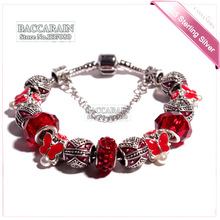 2015 US pop Crystal Red beads fit Pandora bracelet Women Silver Colors beads Bracelets Silver Red iris beads Bracelets P-HD-2