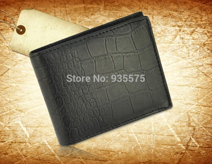 Mens Genuine Leather Bifold Short Wallet Classic Credit Card Holder Purse Bag Case Crocodile Alligator ID Money Bill Fashion(China (Mainland))